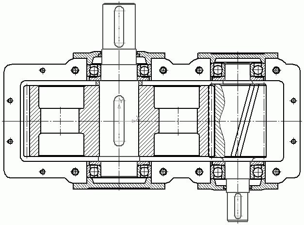 Чертеж редуктора: вид сверху